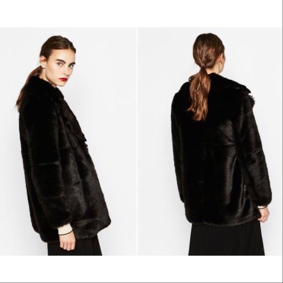 db3af5cb Zara Jackets & Coats | Black Faux Fur Lapel Coat Nwot Small S | Poshmark